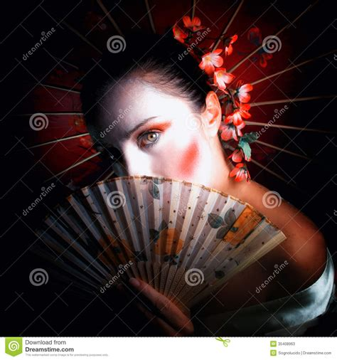 image of a fan geisha stock image image of decoration portrait costume
