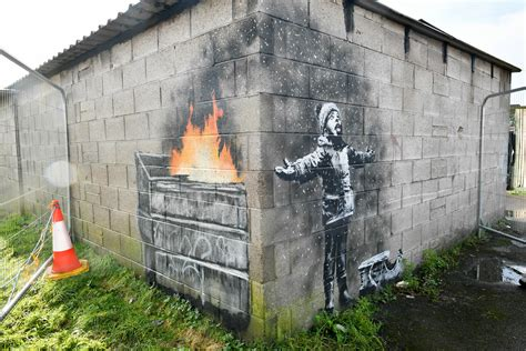 art industry news banksys wales garage mural