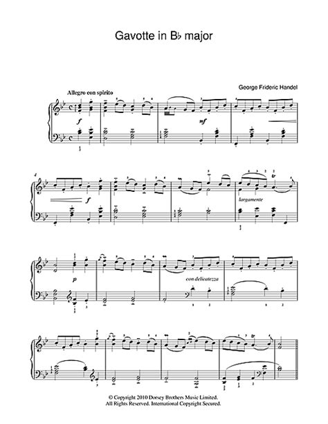 Gavotte Song In The Musical Based On George Bernard Shaws Pygmalion And The 1964 Film Adaptation Of The Same Name | gavotte in b flat sheet music by george frideric handel