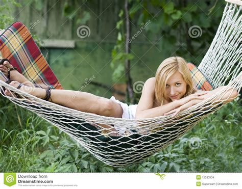 Lying In A Hammock beautiful smiling while lying in a hammock stock images image 15343534