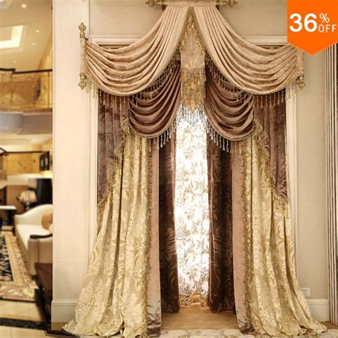 luxury drapes and curtains 2016 gold punch ring rod stick pole classical curtains