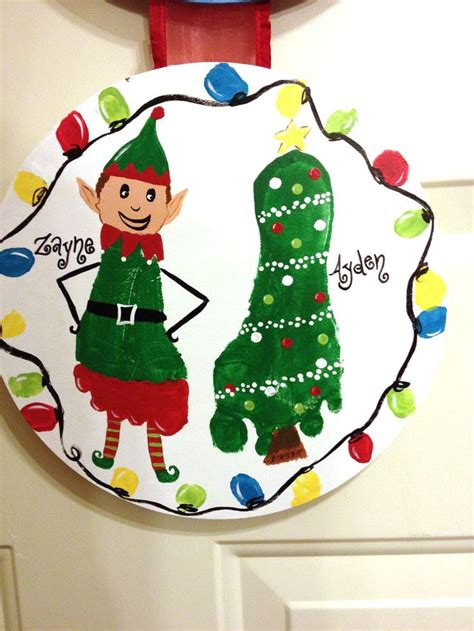 printable elf footprints elf and christmas tree footprint crafts kids handprint