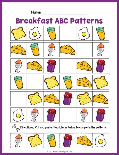 ab pattern words breakfast abc pattern worksheet