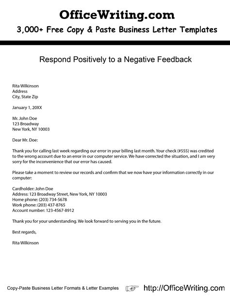 negative business letter sles respond positively to a negative feedback we