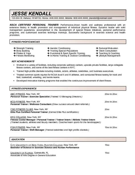 fitness and personal trainer resume exle recentresumes