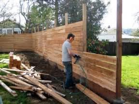 Building A Deck On A Sloped Backyard Cedar Plank Horizontal Fence Diy We Bought A House