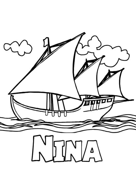 nina pinta santa maria coloring pages