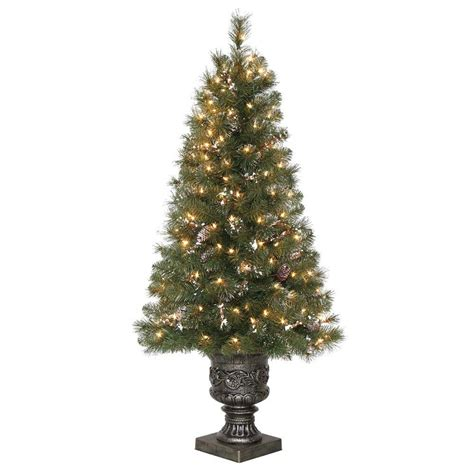 what artificial pre lit chridtmas are at home depot home accents 32 in pre lit snowy artificial tree with 35 clear ul lights 2321780hd