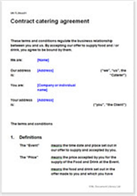 contract catering agreement terms conditions template