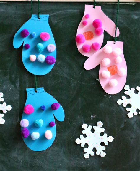 winter themed crafts for pom pom mittens craft mittens winter and craft