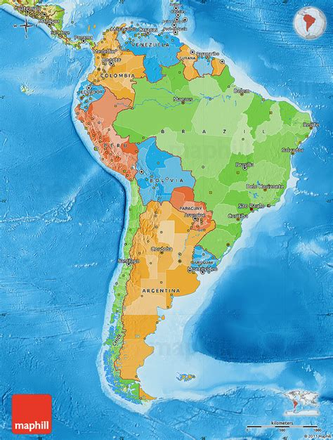 political and physical map of south america political map of south america physical outside
