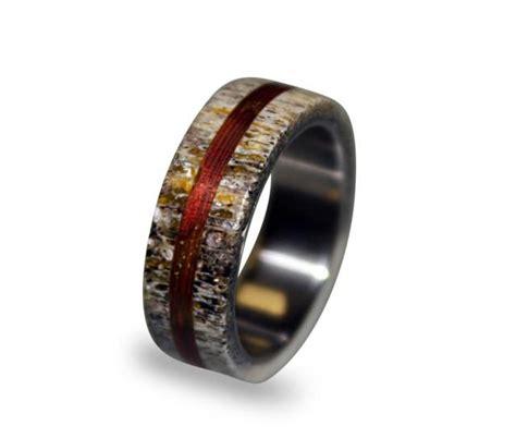 titanium ring mens titanium wedding band deer antler