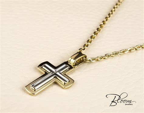 Cross Chain Necklace mens cross necklace 14k white and yellow gold chain mens