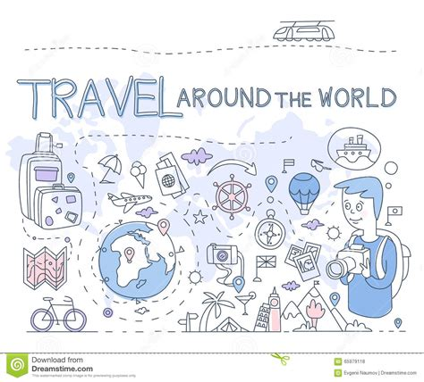 travel doodle free vector travel around the world vector illustration infographics