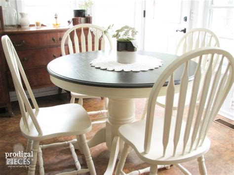 round farmhouse painted kitchen dining table oak farmhouse table makeover with homeright sprayer prodigal