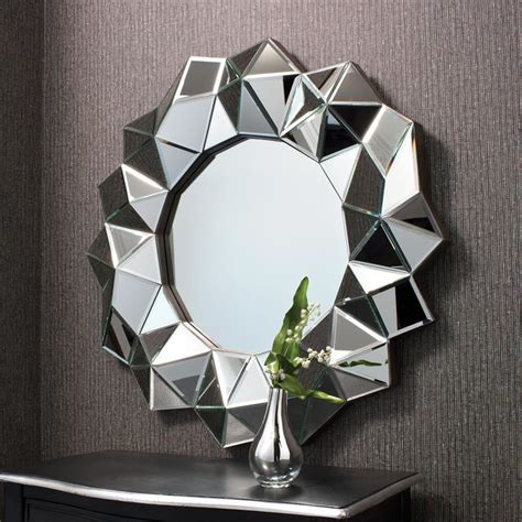 home decor wall mirrors facet round wall mirror home decor
