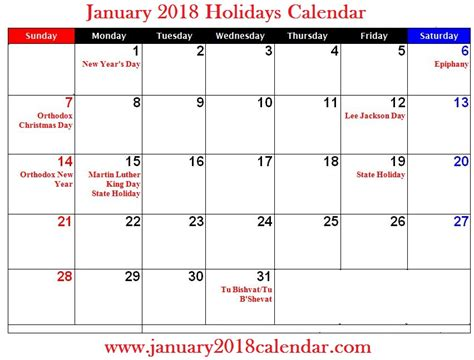 Calendar 2018 Usa Holidays January 2018 Calendar With Uk Usa Holidays January 2018