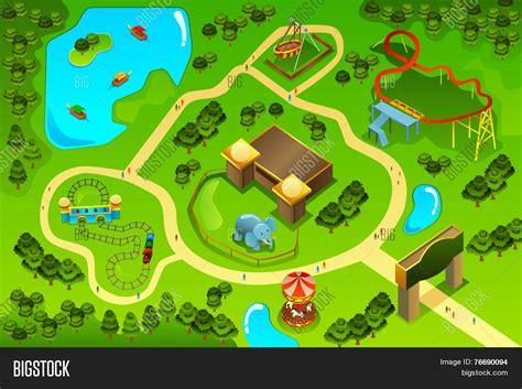 Theme Park Creator Free | map amusement theme park vector photo bigstock
