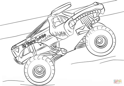 coloring pages monster trucks el toro loco monster truck coloring page free printable