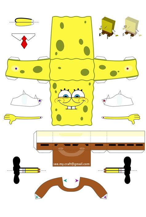 Sponge Paper Craft - spongebob again but still papercraft of spongebob