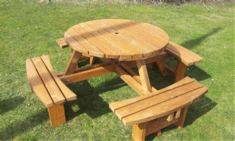 circular picnic bench great value 8 seater round picnic tables 38mm thick