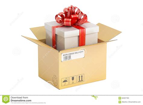 gift delivery opened parcel with gift box gift delivery concept 3d