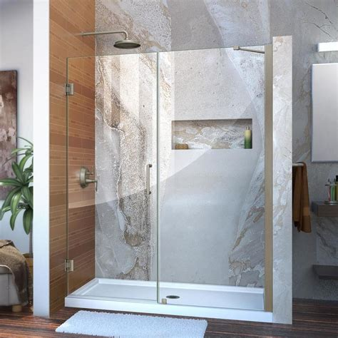 Lowes Shower Doors Shop Dreamline Unidoor 59 In To 60 In Frameless Hinged Shower Door At Lowes