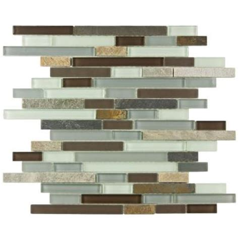 Glass Backsplash Tile Home Depot by Merola Tile Tessera Piano Tundra 11 3 4 In X 12 In X 8