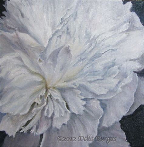 Painting White helping animals floral flowers white peony by