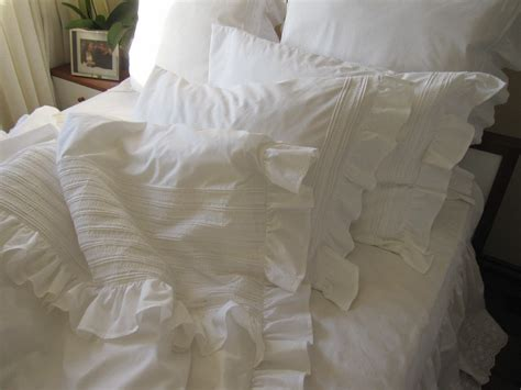 full queen king ruffle duvet cover white or ivory cotton