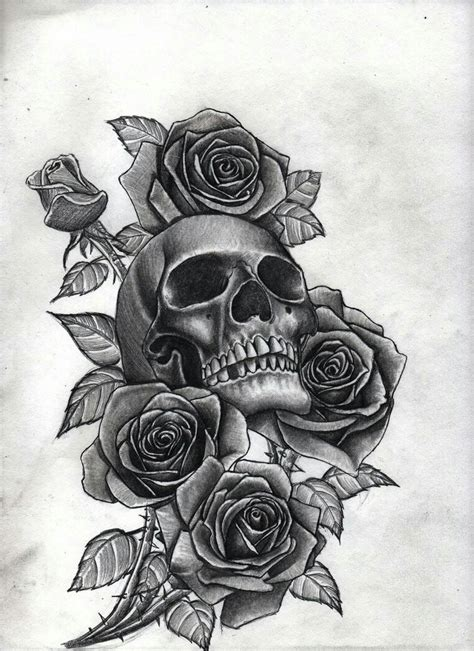 tattoo design rose and skull skull with roses tattoo s pinterest tattoo