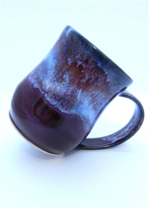 galaxy pottery handmade stoneware mug purple and white galaxy ceramic