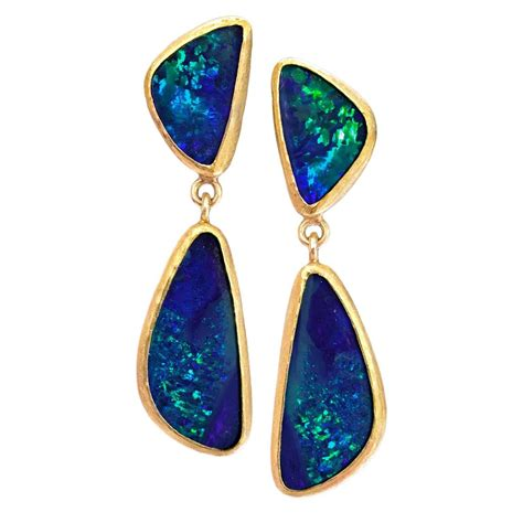 Handmade Opal Jewelry - class blue green australian opal doublet matte gold