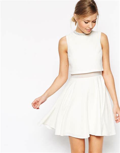 Top Dress asos asos crop top skater with embellished neck dress at