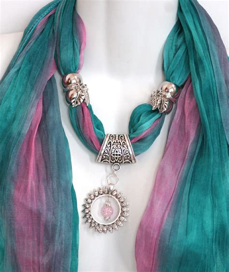 pendant scarf jewelry turquoise silver pendant jewellery
