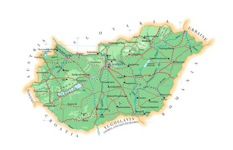 physical map of hungary large detailed physical map of hungary with cities roads