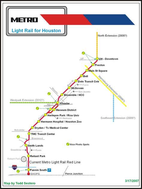 houston map with metro rail the houston light rail system