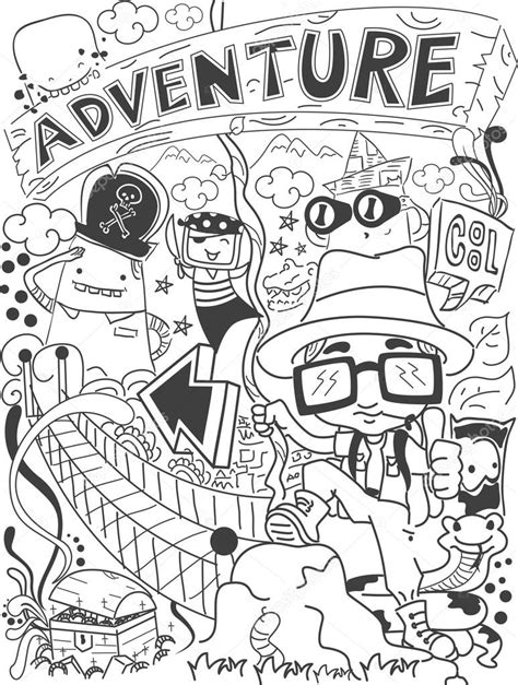 doodle 4 my adventure illustration of a doodle with an adventure theme stock