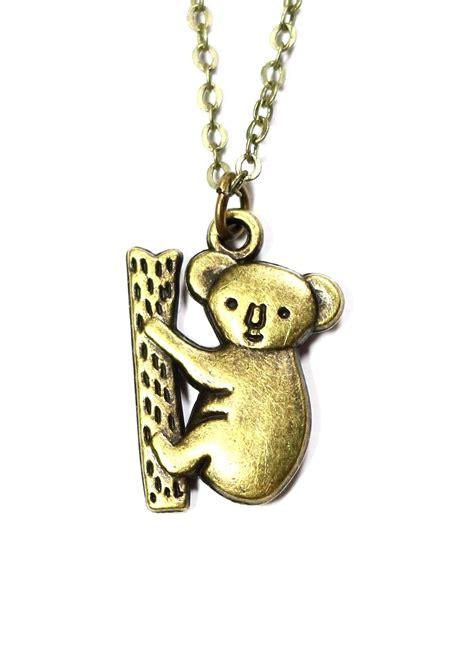 climbing koala necklace vintage gold tone