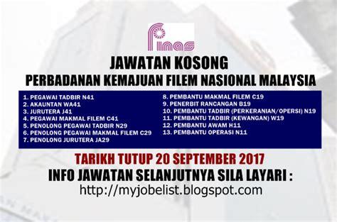 perbadanan film nasional malaysia jawatan kosong kerajaan terkini di finas 20 september 2017