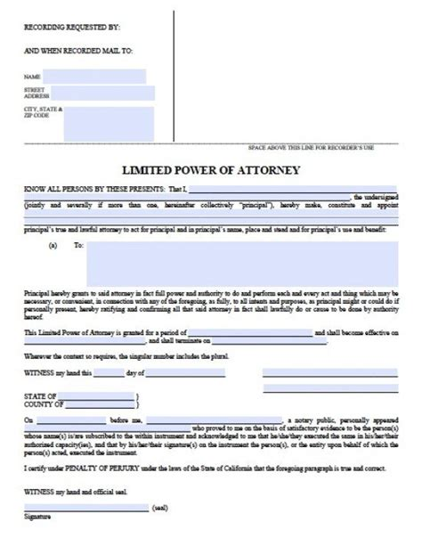 special power of attorney form california limited special power of attorney form