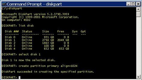 diskpart format name format drives with correct allocation and offset for