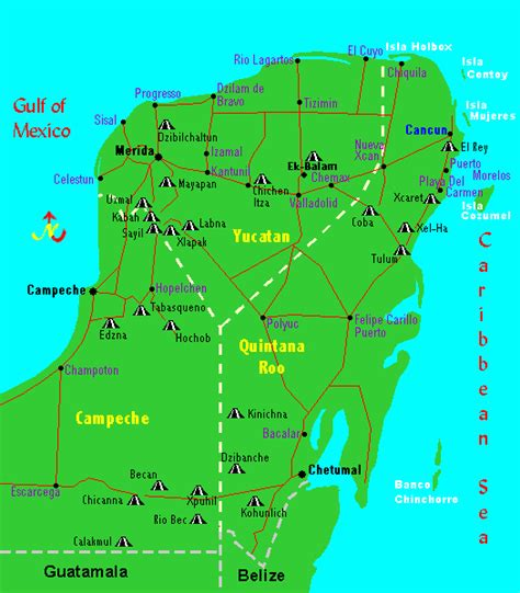 map of mexico showing cancun mayan ruins map