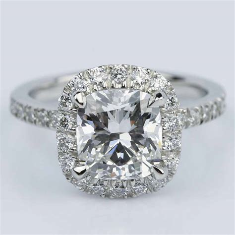 cushion cut micropave halo engagement ring