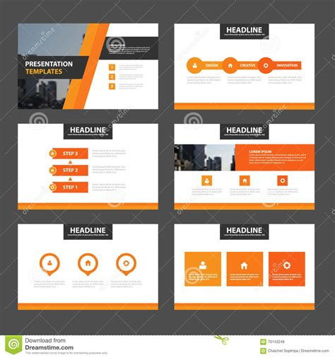 Elegance Orange Presentation Templates Infographic Elements Flat Design Set For Brochure Stock Advertising Presentation Templates