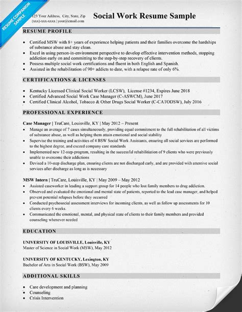 social work resume exle social work resume sle writing tips resume companion