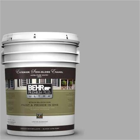 behr premium plus ultra 5 gal n520 3 flannel gray semi gloss enamel exterior paint 585405