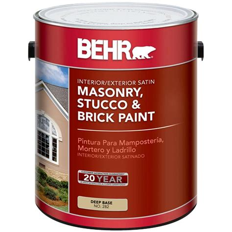 based exterior masonry paint behr 5 gal white satin masonry stucco and brick