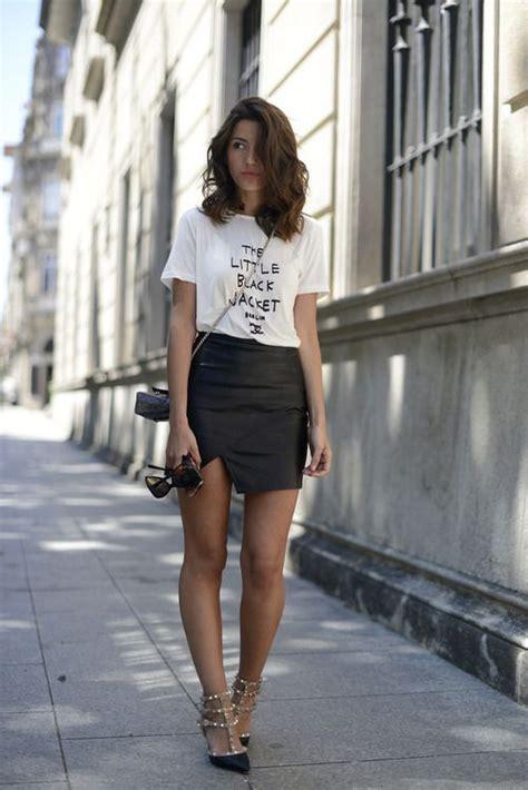 black leather mini skirt white wear