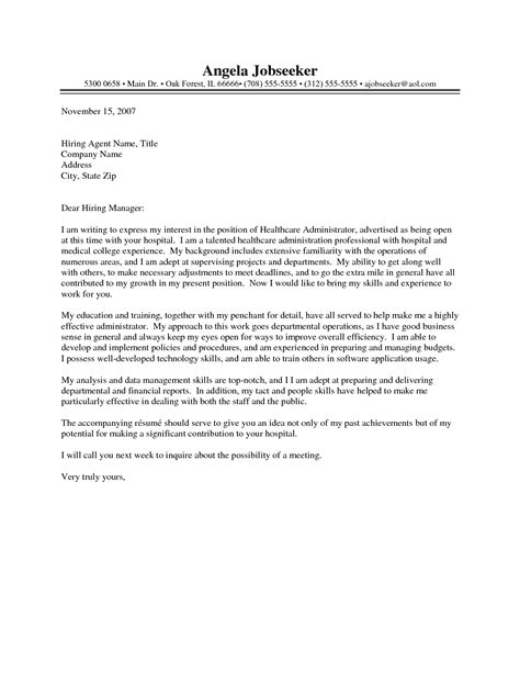 cover letter for health care cover letter exle